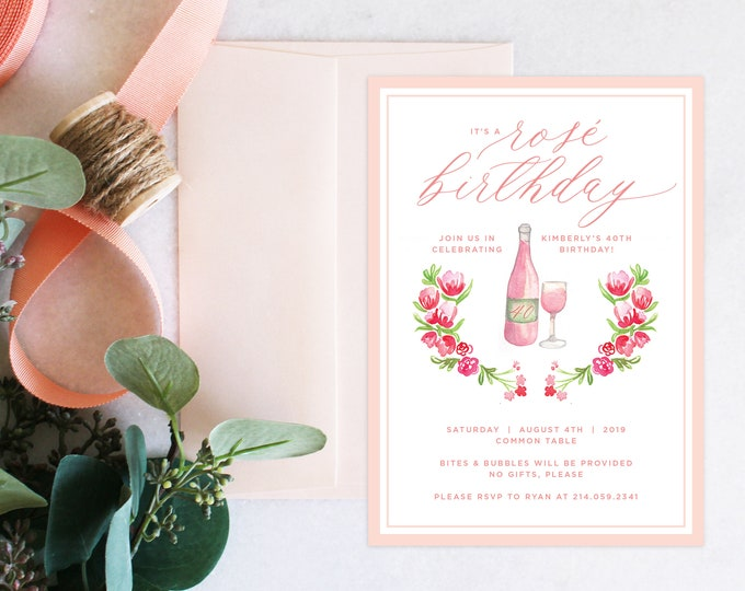 PRINTABLE Birthday Party Invitation | Rosé Birthday | Wine | Florals