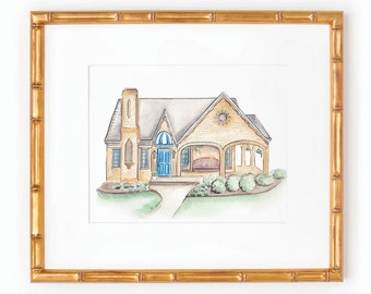 Custom Home Illustration | Watercolor | Homes | Venues | Churches | Buildings