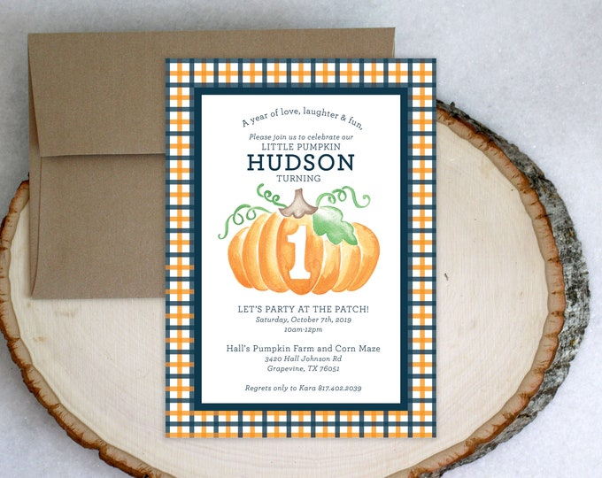 PRINTABLE Birthday Party Invitation | Little Pumpkin | ONE | Gingham