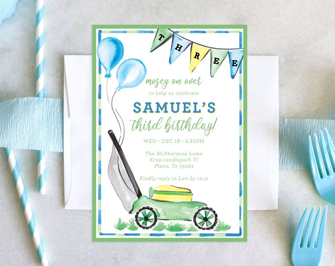 PRINTABLE Birthday Party Invitation   Lawn Mower Party   Mosey on Over