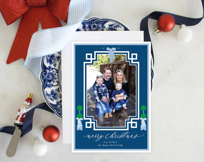 PRINTABLE Holiday Cards | Chinoiserie Style | Photo Cards | Topiaries | Blue and White | Holiday Bows