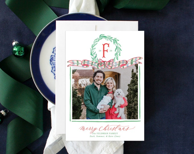 PRINTABLE Holiday Cards | Plaid Ribbon | Green Garland | Classic Christmas | Birth Announcement