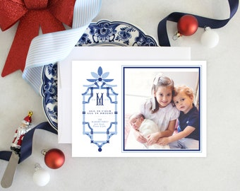 PRINTABLE Holiday Cards | Pagoda | Palm leaves | Photo Cards | Pink and Blue Bamboo | Chinoiserie
