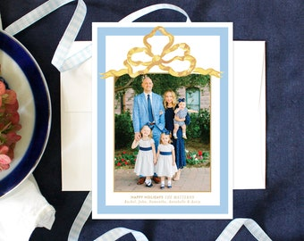 PRINTABLE Holiday Cards | Grandmillennial | Gold Bow | Photo Cards
