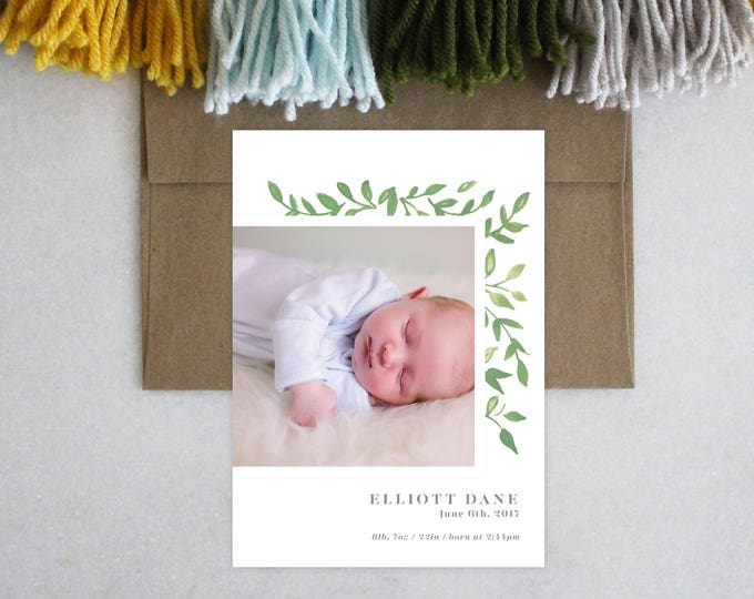 PRINTABLE Baby Announcement | Green Leaves