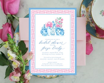 PRINTABLE Bridal Shower Invitation | Chinoiserie Ginger Jars | Pink Peonies