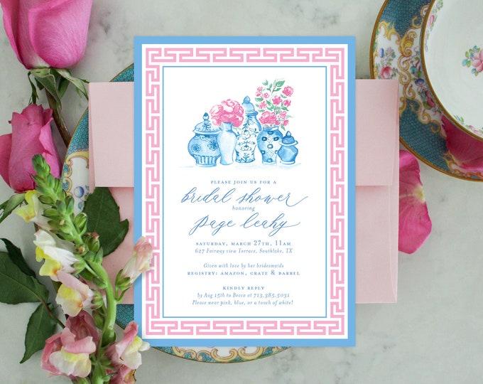 PRINTABLE Bridal Shower Invitation | Chinoiserie Ginger Jars | Pink Peonies