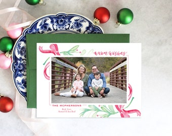 PRINTABLE Holiday Cards | Warm Wishes | Christmas | Photo Cards | Greenery | Red Bow