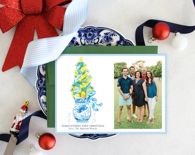 PRINTABLE Holiday Cards | Lemon Topiary Tree | Photo Cards | Chinoiserie | Blue and White Ginger Jar