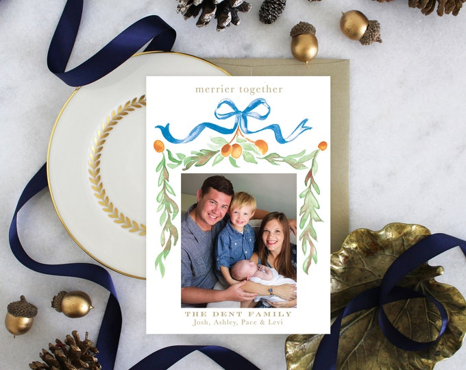 PRINTABLE Holiday Cards   Citrus   Garland   Photo Cards   Blue Bow   Birth Announcement