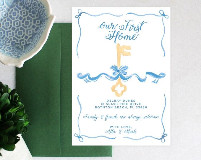 PRINTABLE Moving Announcement | New Keys | French Blue | Bow | First Home