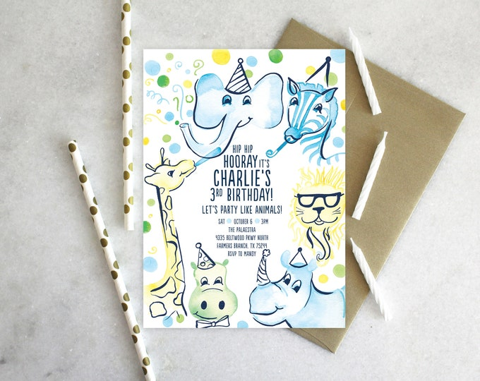 PRINTABLE Birthday Party Invitation | Party Like Animals | Zoo Animals