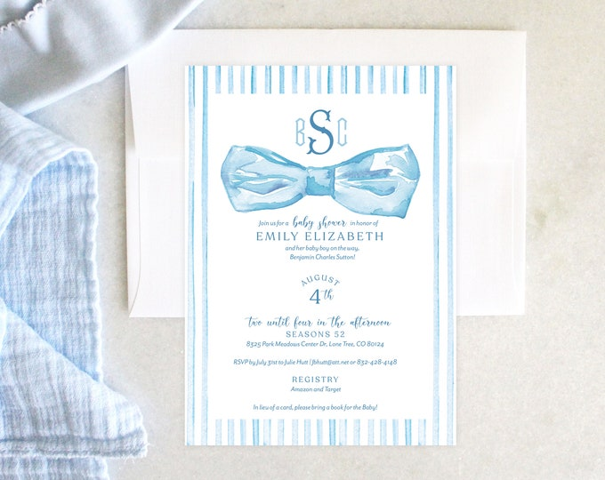 PRINTABLE Baby Boy Shower Invitation | Little Gent | Baby Blue | Bow Tie | Men's Monogram