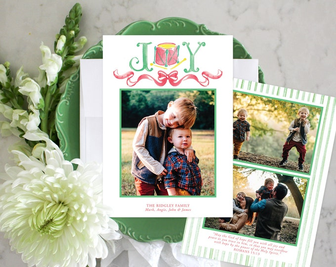 PRINTABLE Holiday Cards   JOY   Little Toy Drum   Red Bow   Photo Cards   Classic Christmas
