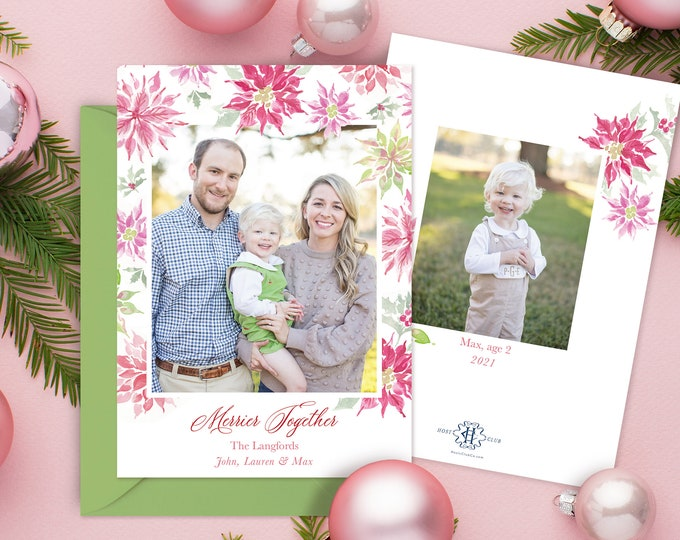 PRINTABLE Holiday Cards   Poinsettias   Pink Red Green   Photo Cards   Merrier Together