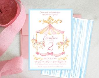 PRINTABLE Birthday Party Invitation | Pastel Carousel | Merry-go-round