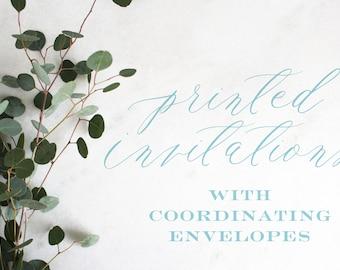 Printed Invitations | Coordinating Envelopes