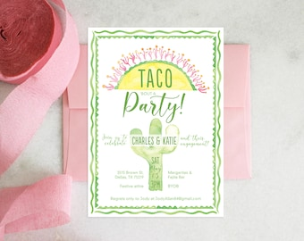 PRINTABLE Party Invitation | Taco Bout a Party | Couples Shower | Engagement Party | Baby Shower | Birthday | Fiesta
