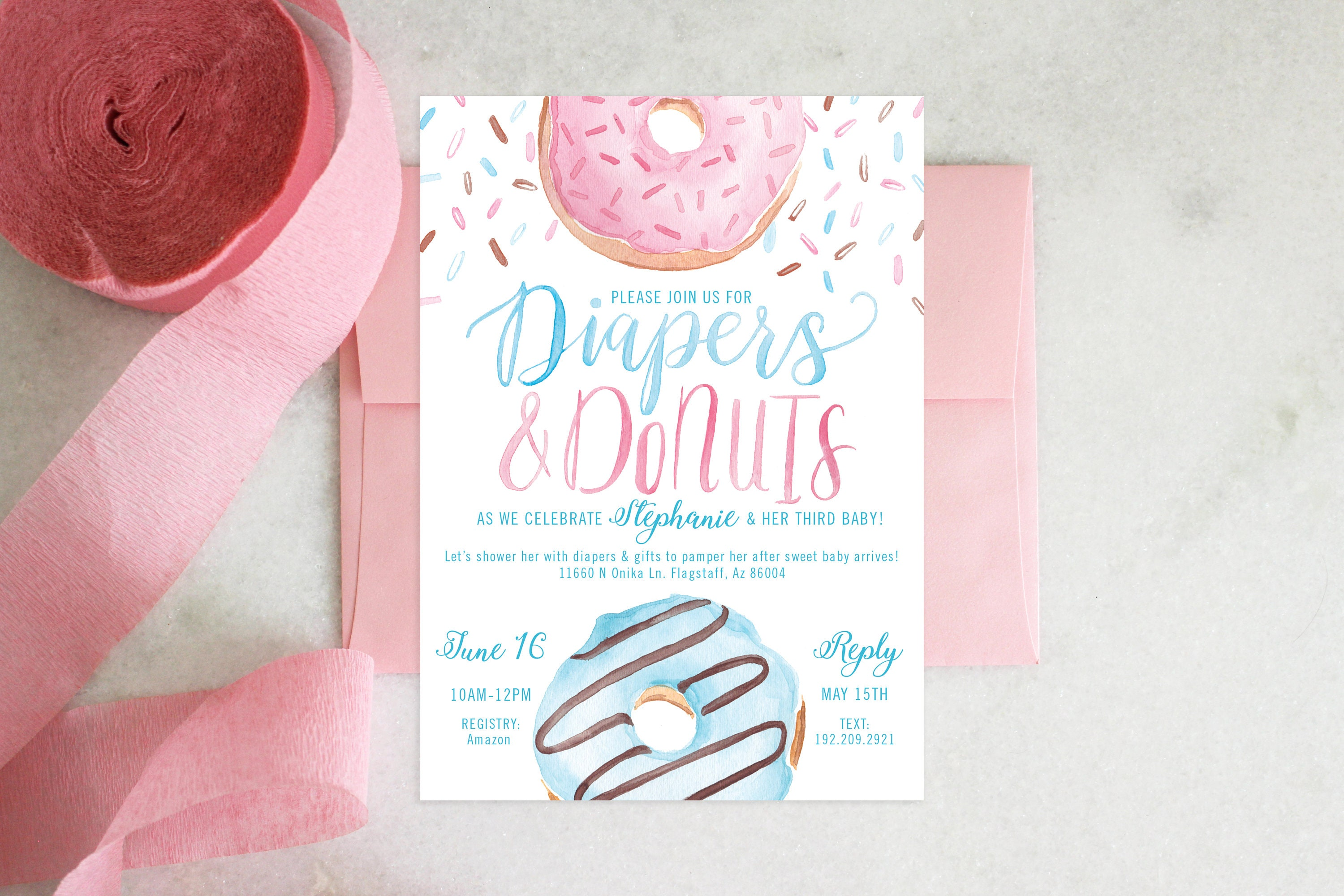 Printable baby shower invitation diapers donuts filmwisefo