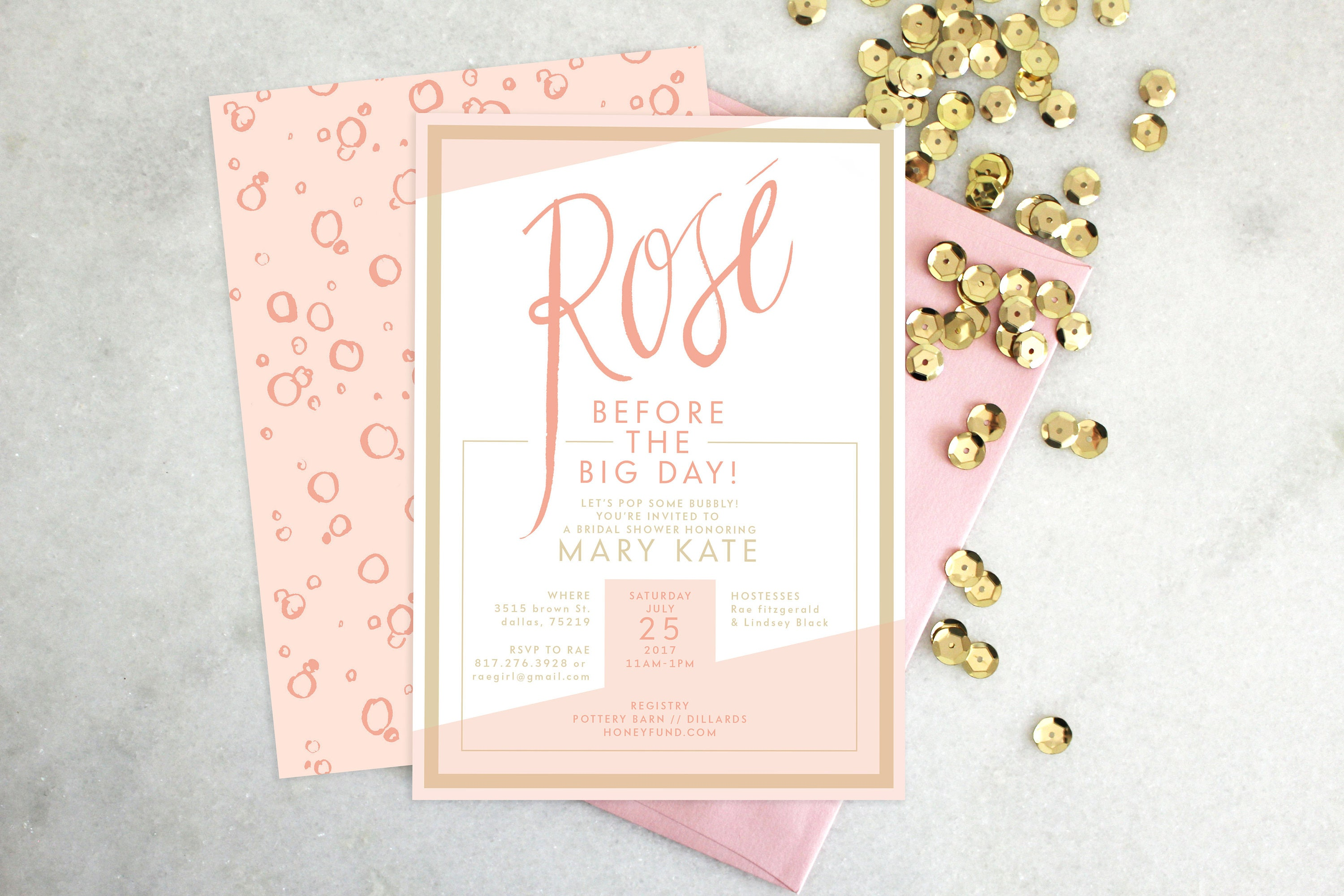 image relating to Printable Wedding Shower Invitations named PRINTABLE Bridal Shower Invitation Rosé