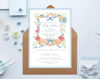 PRINTABLE Baby Shower Invitation | Little Pumpkin | Fall Crest | Baby Boy
