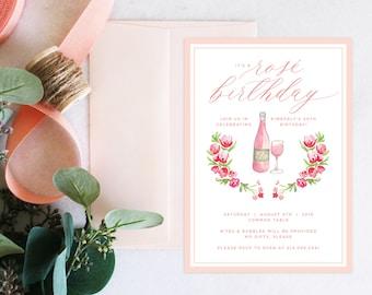 PRINTABLE Birthday Party Invitation | Rosé Birthday | Wine | Florals
