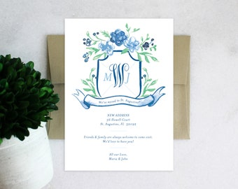 PRINTABLE Monogrammed Moving Announcement | Floral Family Crest
