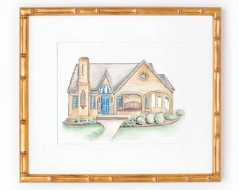 Custom Home Illustration | Watercolor | Homes | Venues | Churches | Buildings