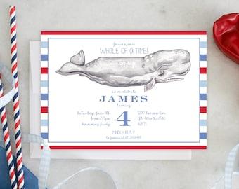 PRINTABLE Birthday Party Invitation | Whale of a Time | Preppy kids | Striped | Make a Splash | Nantucket Whale
