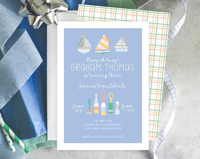 PRINTABLE Birthday Party Invitation   Oh Buoy!   Sailebrate   Nautical Birthday