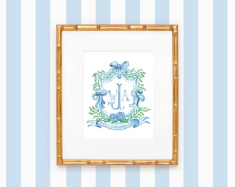 PRINTABLE Semi-Custom Crest | Southern Baby | Blue bow | Monogram | Rattle | Hydrangea