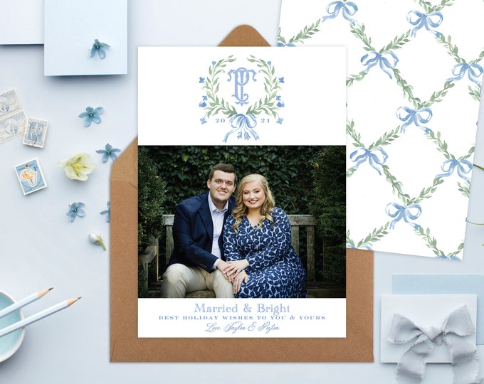 PRINTABLE Holiday Cards   Laurel Wreath   Newly Weds   Newly Engaged   Married & Bright   Monogram   Blue Ribbon