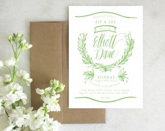 PRINTABLE Sip and See Invitation | Green Wreath