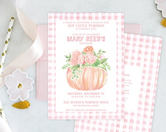 PRINTABLE Birthday Party Invitation | Little Pumpkin Turning One | Pink Gingham | Fall Florals