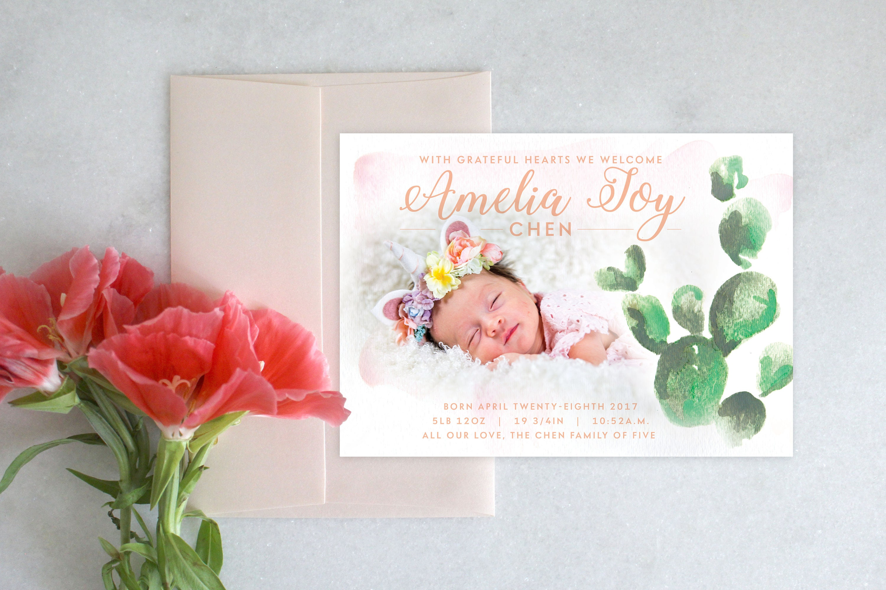 image regarding Printable Baby Announcement called PRINTABLE Little one Announcement Cactus Watercolor
