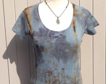 Eco dyed indigo naturally printed cotton t-shirt size XS(34)