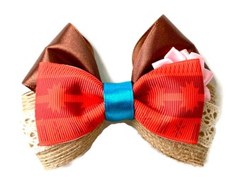 "4"" Moana Inspired Disney Princess Hair Bow"