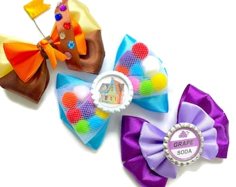 """4"""" Up Disney Inspired Pixar Up House, Russell, & Grape Soda Hair Bow"""