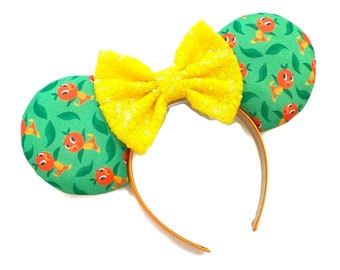 Orange Bird Fabric Minnie Mouse Ears | Disney Inspired Fabric Mouse Ears | Florida Orange Bird Minnie Ears |