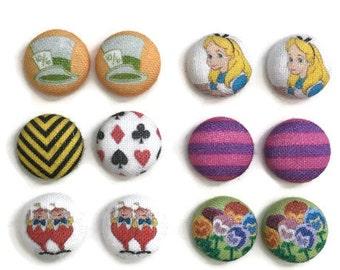 Wonderland Earrings Disney Inspired Alice in Wonderland MaddHatter Queen of Hearts Cheshire Cat TweedleDee TweedleDum Pansie Fabric Earring