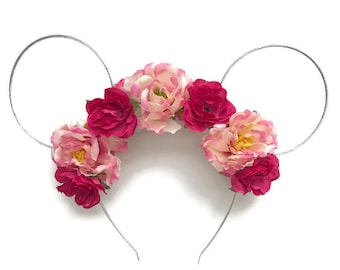 Pink Mouse Flower Crown Silver Wire Mouse Ears