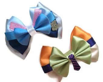 "4"" Zootopia Inspired Judy Hopps and Nick Wilde Disney Hair Bows"