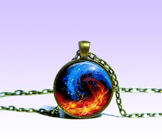 Yin Yang Fire And Ice Pendant Astrology Necklace Zodiac Etsy