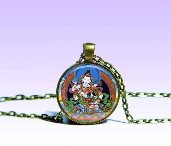 Vajrasattva Yab-Yum Amulet Shingon Om Lotus NECKLACE Vajradhara Amulet Prana Charm Mantra Pendant Yoga for Him or Her