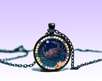 Zodiac Sign Cancer June 22 - July 22 Vintage Pendant Astrology NECKLACE Zodiac Jewelery Charm Pendant for Him or Her