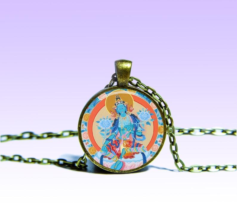 Dakini Ekajati Amulet Om NECKLACE M\u0101hac\u012bnat\u0101r\u0101 Amulet Charm Blue Tara Pendant Yoga for Him or Her