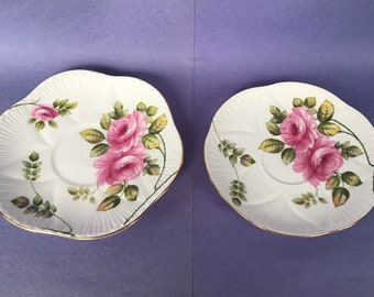 Selection of 3 Orphan Saucers by Shelley Begonia 2 - Unknown White Pattern