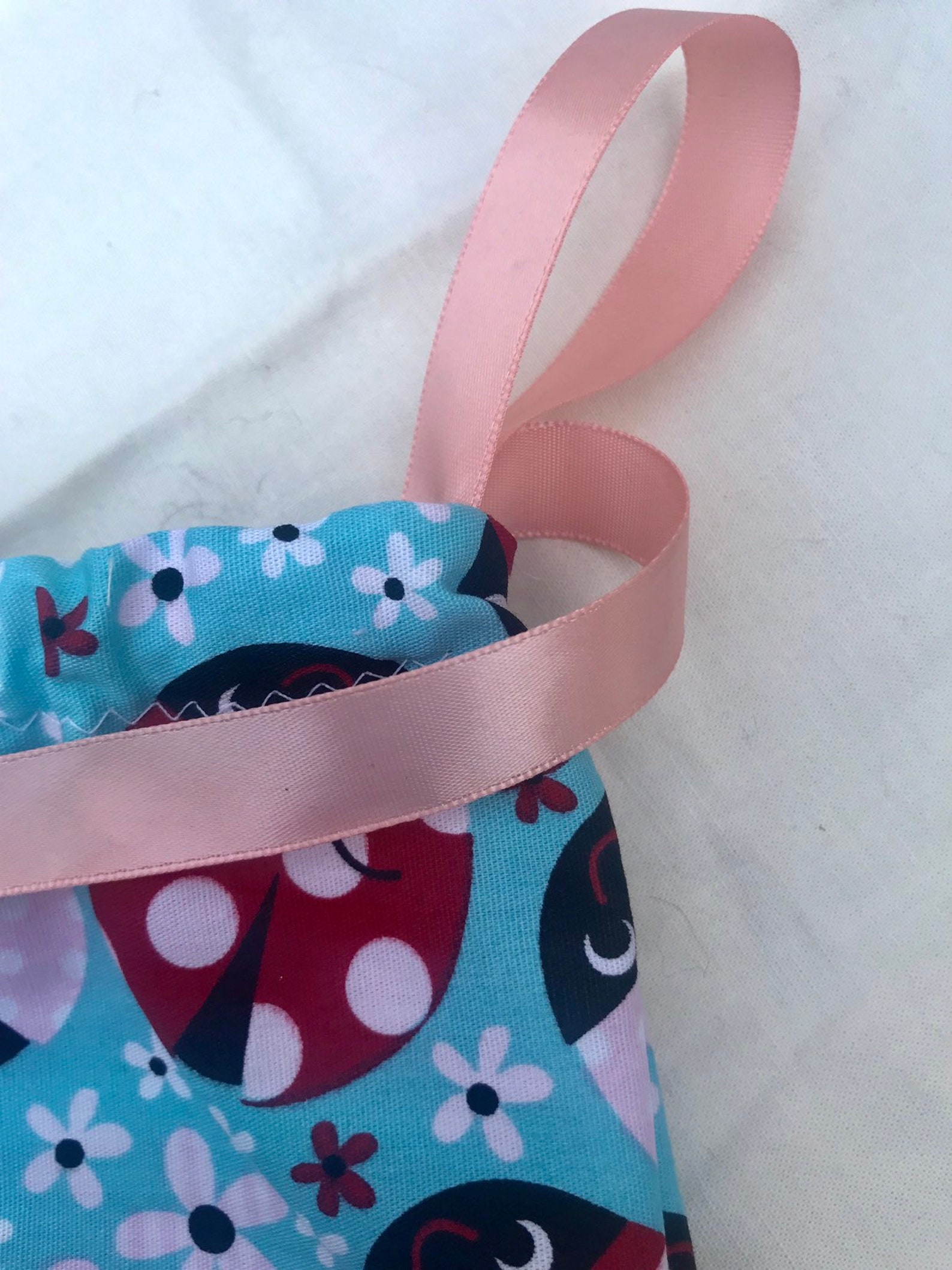 ladybug ballet shoe bag / pointe shoe bag / travel shoe bag / drawstring bag