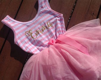Personalized Dress - pink and gold