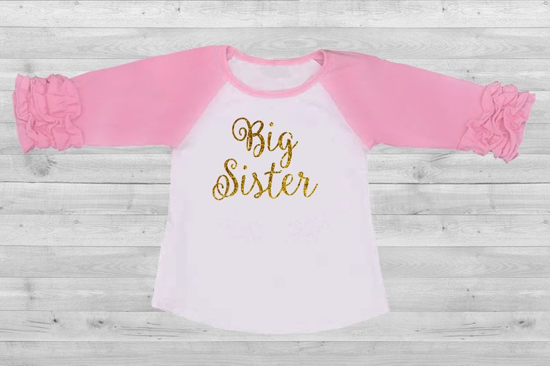 d09fdeda18a Ruffle sleeve raglan big sister pink and white shirt gold sparkly lettering